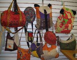 Fair trade accessories made by Earth Divas- most are recycled silk and Hemp from the mountains of Katmando.